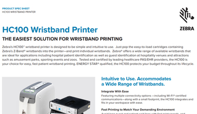 Zebra HC100 Wristband Laser Printer Healthcare Brochure