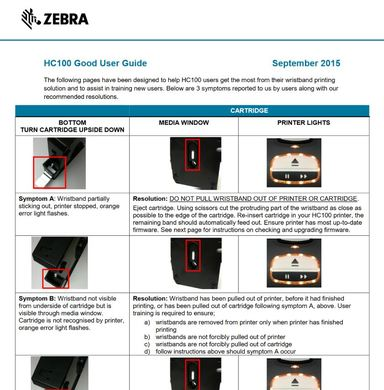 Zebra HC100 wristband Printer User Guide
